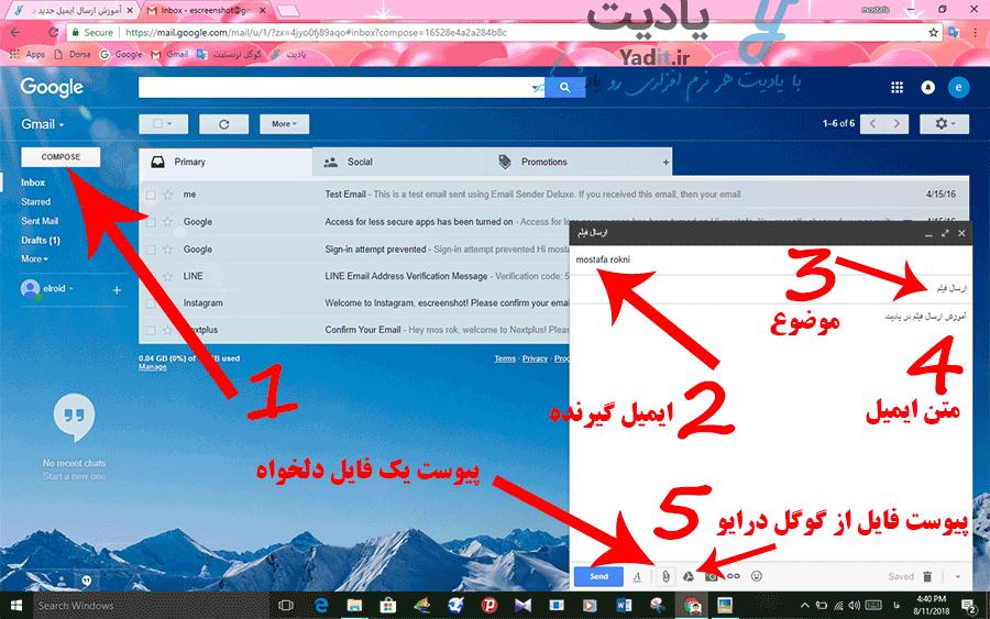 ایجاد ایمیل خالی و انجام تنظیمات آن برای پیوست فایل به آن