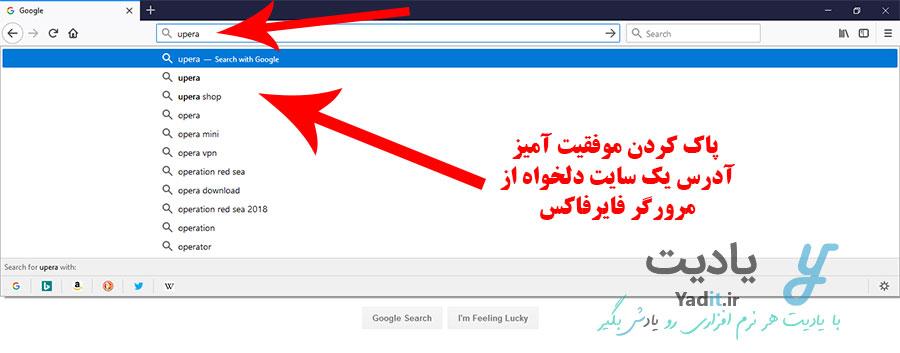 پاک کردن موفقیت آمیز آدرس یک سایت دلخواه از مرورگر فایرفاکس