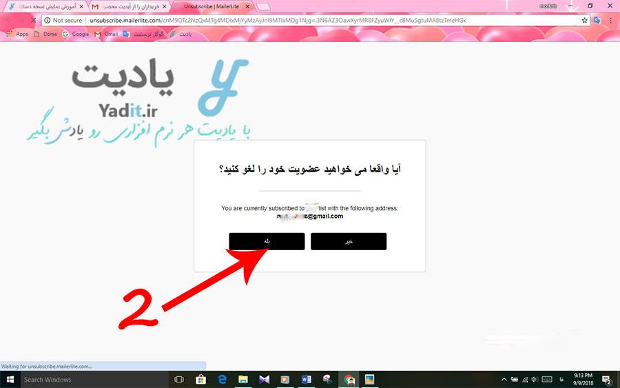 تایید لغو اشتراک ایمیل های دریافتی از طرف وب سایت نمونه اول