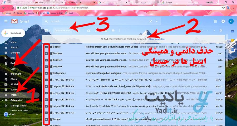 روش حذف دائمی و همیشگی ایمیل ها در جیمیل