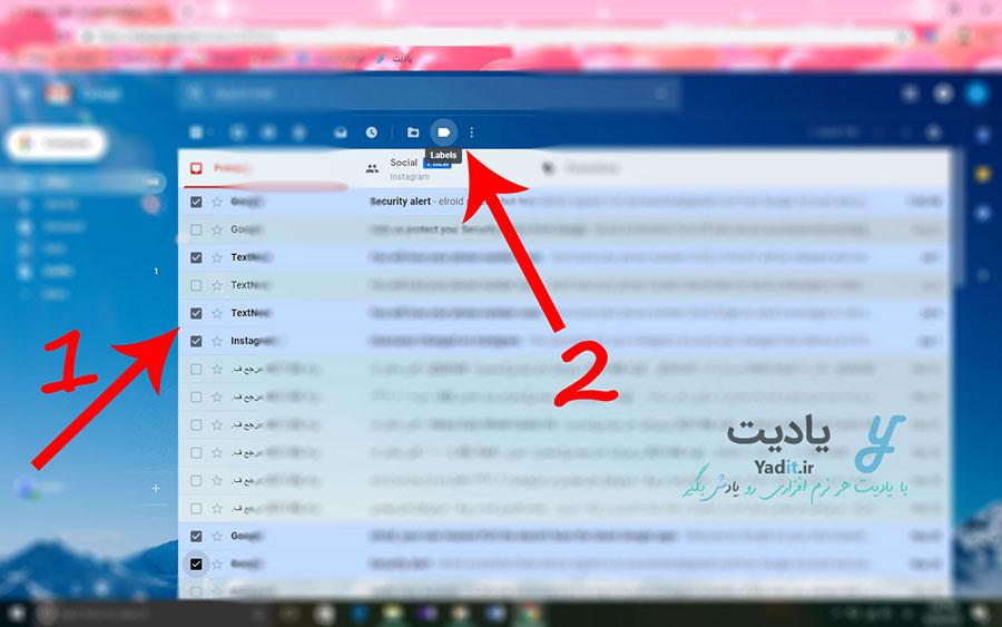 انتخاب ایمیل های مورد نظر برای برچسب گذاری (Label) آن ها در سرویس جیمیل