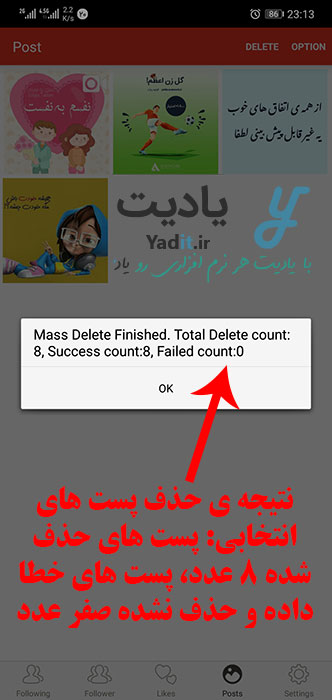 نتیجه ی حذف پست های اینستاگرامی انتخاب شده