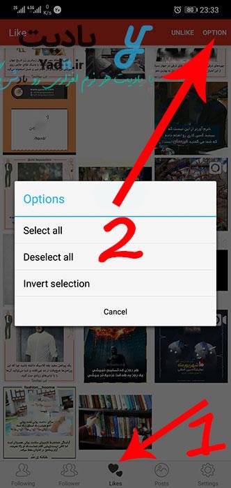 انتخاب پست های مورد نظر برای حذف یکجای لایک آن ها در اینستاگرام