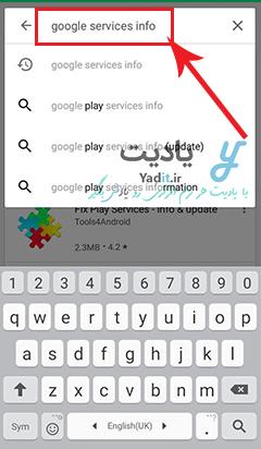 وارد کردن نام google services info