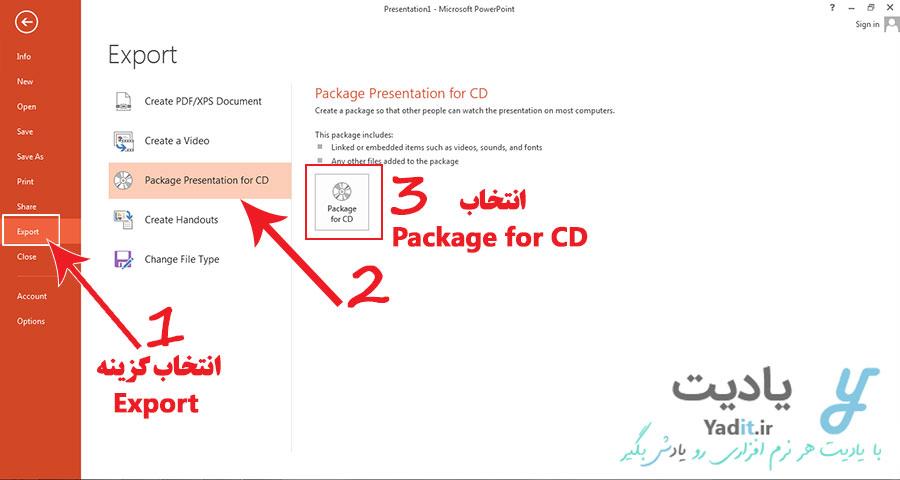 ذخیره سازی به صورت بسته بندی (Package) فایل پاورپوینت