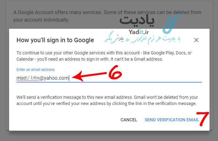 وارد کردن یک آدرس ایمیل دیگر برای دسترسی به حساب گوگل پس از حذف اکانت جیمیل