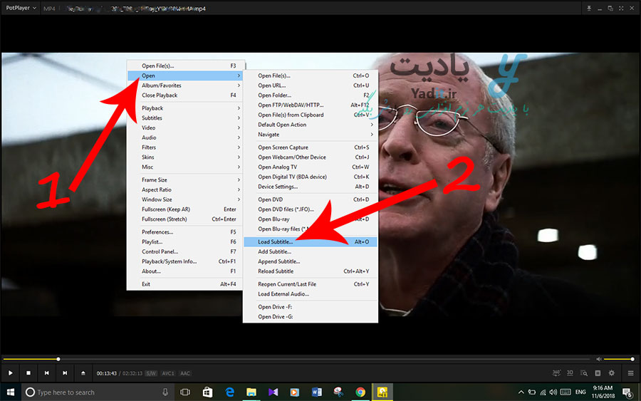 روش نمایش زیرنویس فیلم در نرم افزار PotPlayer