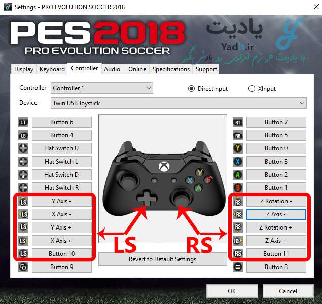 دکمه های RS و LS در تنظیمات PES کامپیوتر