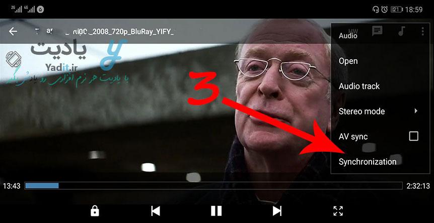 باز کردن پنجره مربوط به هماهنگ کردن صدا و تصویر در MX Player