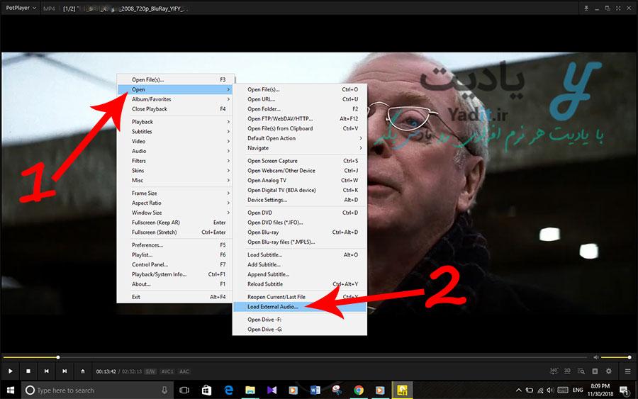 روش بارگذاری صدای دوبله جداگانه برای فیلم زبان اصلی در PotPlayer