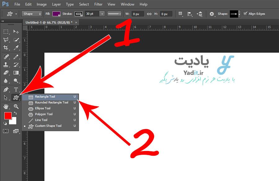 انتخاب ابزار Rectangle Tool برای رسم مربع در فتوشاپ
