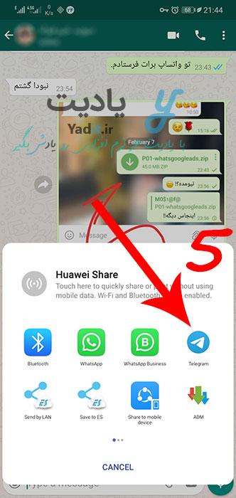 انتخاب تلگرام برای انتقال خروجی چت واتساپ